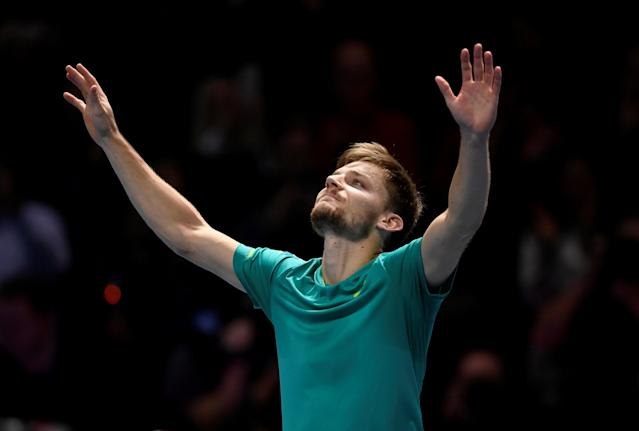 Tennis - ATP World Tour Finals - The O2 Arena, London, Britain - November 18, 2017 Belgium's David Goffin celebrates after winning his semi final match against Switzerland's Roger Federer Action Images via Reuters/Tony O'Brien TPX IMAGES OF THE DAY