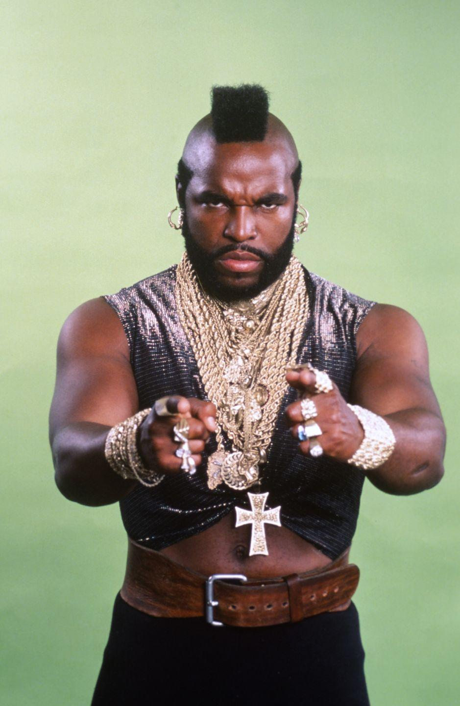 <p>When Mr. T appeared in <em>The A-Team </em>in the early '80s, the wrestler was rarely seen without a myriad of gold chains around his neck. It didn't take long for the look to become his signature.</p>