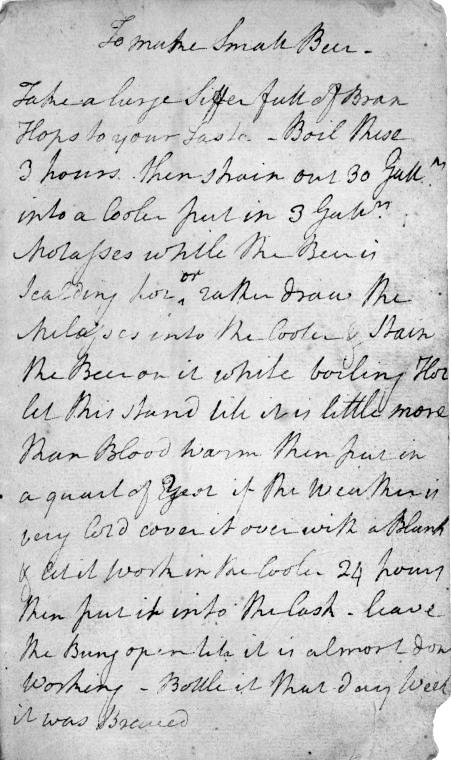 "This undated photo provided by the New York Public Library shows George Washington's handwritten recipe for beer. Washington is famous for many things. But it's safe to say few know the nation's founding father created a recipe for beer. In celebration of its 100th anniversary on May 23, 2011, the New York Public Library is partnering with Coney Island Brewing Company in Brooklyn to create a limited amount of ""Fortitude's Founding Father Brew. (AP Photo/New York Public Library)"