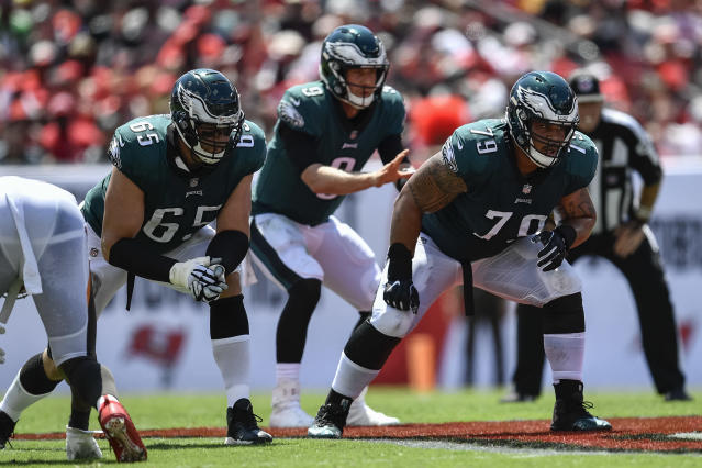 """<a class=""""link rapid-noclick-resp"""" href=""""/nfl/teams/philadelphia/"""" data-ylk=""""slk:Philadelphia Eagles"""">Philadelphia Eagles</a> tackle <a class=""""link rapid-noclick-resp"""" href=""""/nfl/players/26627/"""" data-ylk=""""slk:Lane Johnson"""">Lane Johnson</a>, left, and guard <a class=""""link rapid-noclick-resp"""" href=""""/nfl/players/25786/"""" data-ylk=""""slk:Brandon Brooks"""">Brandon Brooks</a>, right, are featured in the 2019 ESPN Body Issue. (Photo by Roy K. Miller/Icon Sportswire via Getty Images)"""