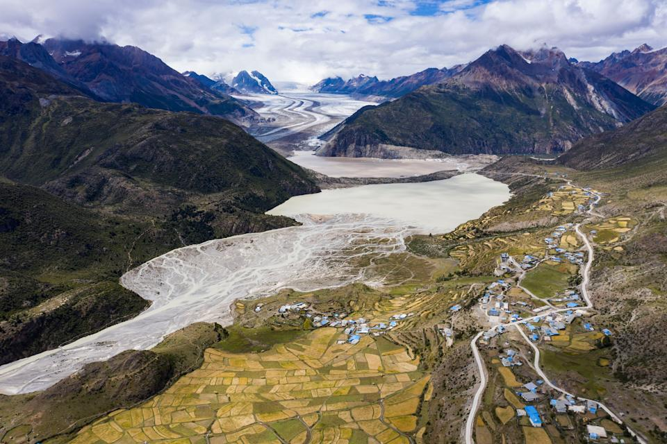 LHASA, Sept. 10, 2020 -- Aerial photo taken on Sept. 10, 2020 shows glaciers at Ra'og Township of Baxoi County in Qamdo City, southwest China's Tibet Autonomous Region. This year marks the 70th anniversary of the liberation of Qamdo. (Photo by Purbu Zhaxi/Xinhua via Getty) (Xinhua/Purbu Zhaxi via Getty Images)
