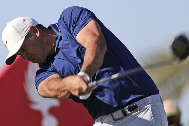 Brooks Koepka from the U.S. tees off on the 14th hole during the second round of the Abu Dhabi Championship golf tournament in Abu Dhabi, United Arab Emirates, Friday, Jan. 17, 2020. (AP Photo/Kamran Jebreili)