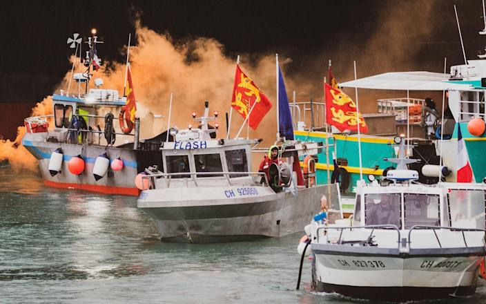 On Thursday, around 60 French vessels attempted to blockade St Helier, Jersey's main port - Oliver Pinel/via AP
