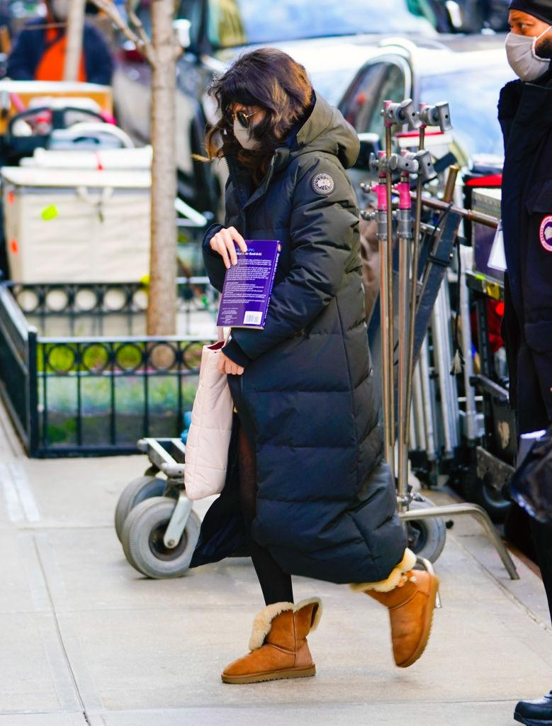 "Selena Gomez wore her Bailey Button II Boots and a Canada Goose Puffer while on set of her upcoming comedy series, ""Only Murders in the Building."" (Photo by Gotham/GC Images)"