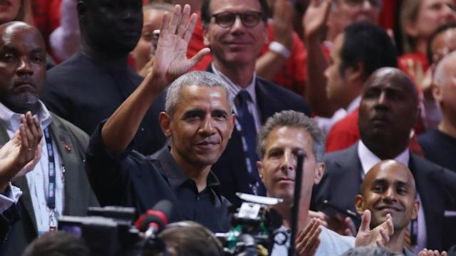 Former United States president Barack Obama watched the Golden State Warriors beat the Toronto Raptors.