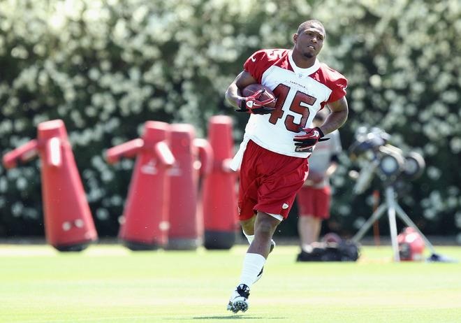 TEMPE, AZ - MAY 11:  Runningback Javarris James #45 of the Arizona Cardinals practices in the minicamp at the team's training center facility on May 11, 2012 in Tempe, Arizona.  (Photo by Christian Petersen/Getty Images)