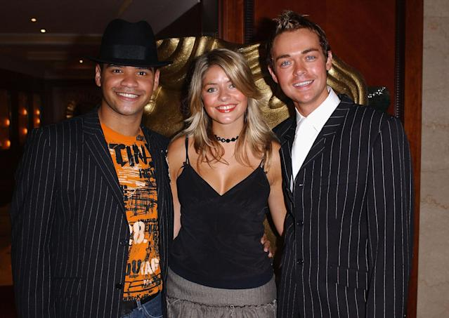 Michael Underwood, Holly Willoughby and Stephen Mulhern arrive at the British Academy Children's Film And Television Awards in association with The Lego Company, at the Hilton Hotel on November 30, 2003 in London, England. (Photo by Steve Finn/Getty Images)