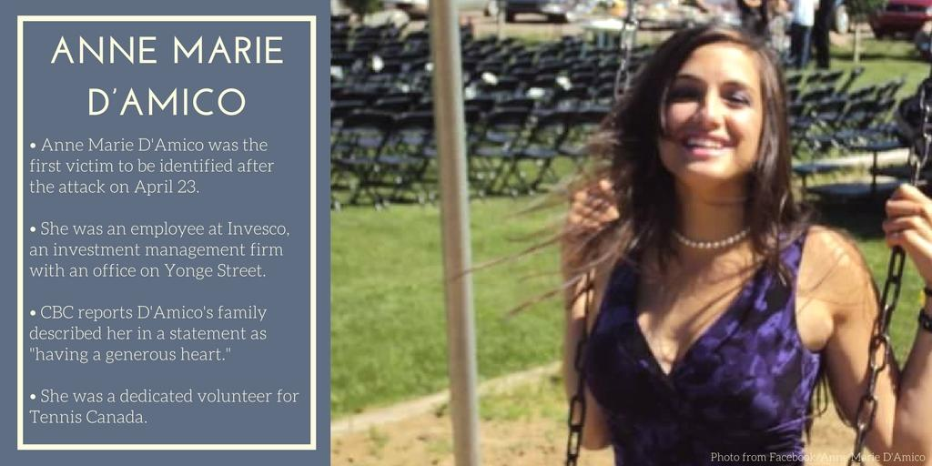 <p>Anne Marie D'Amico was one of 10 people killed in Toronto when a man drove a rental van onto Yonge Street's sidewalk around lunchtime on April 23 and plowed through clusters of pedestrians. (Photo from Facebook/Anne Marie D'Amico) </p>