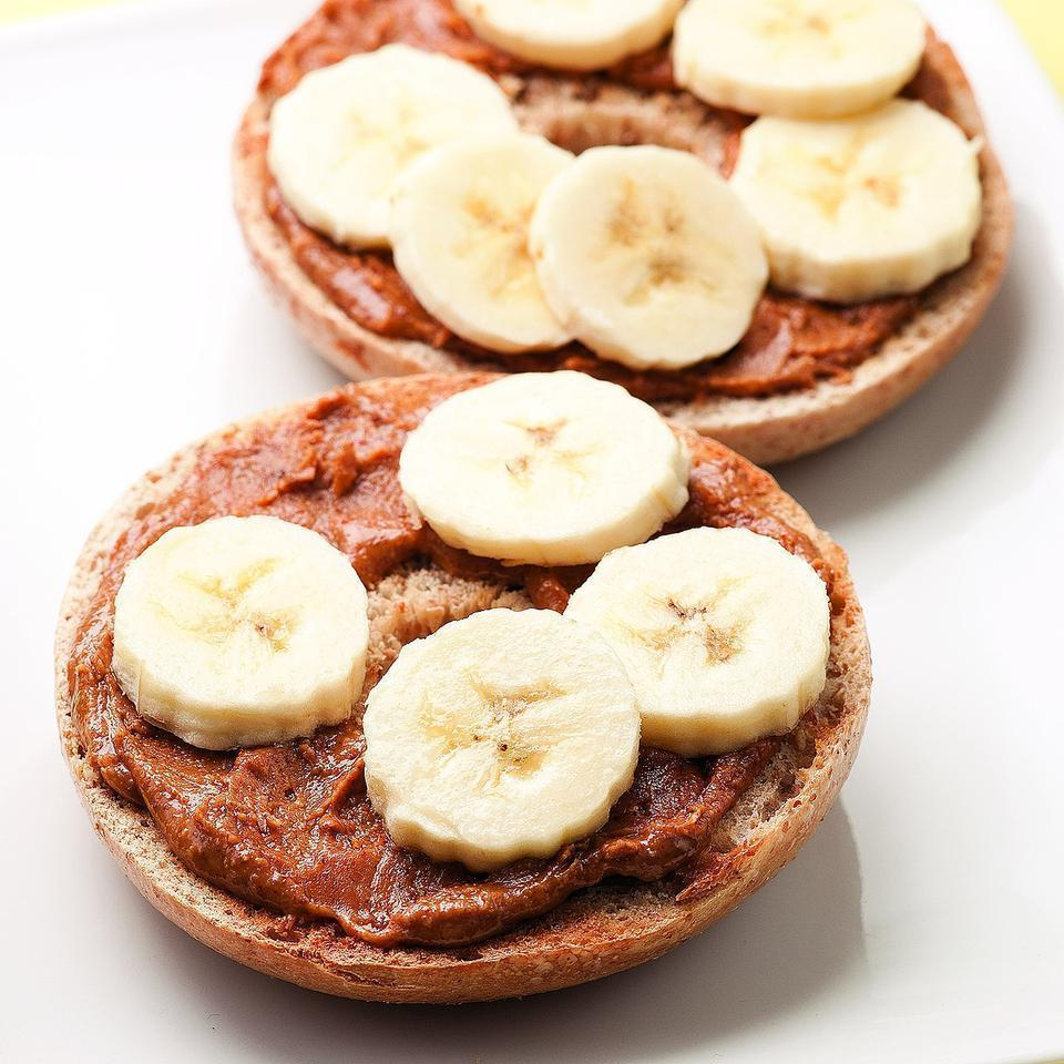 "<p>Talk about a grab-and-go breakfast: this bagel topped with nut butter and banana slices is ready in just 5 minutes and easy to eat on the run. <a href=""http://www.eatingwell.com/recipe/250131/bagel-gone-bananas/"" rel=""nofollow noopener"" target=""_blank"" data-ylk=""slk:View recipe"" class=""link rapid-noclick-resp""> View recipe </a></p>"