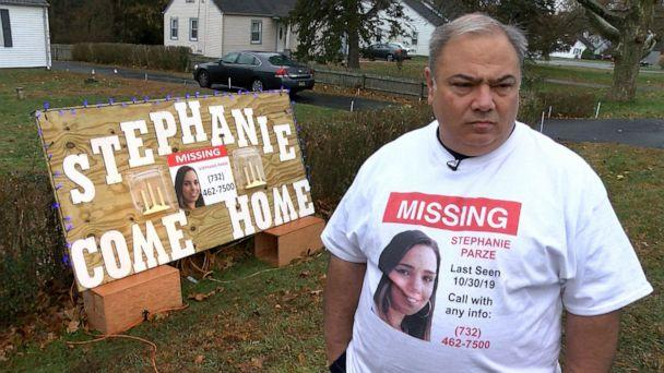 PHOTO: Edward Parze stands next to a large sign Nov. 18, 2019, outside his Freehold home that asks his missing daughter Stephanie to come home. (Thomas P. Costello/ Asbury Park/USA Today Network, FILE)