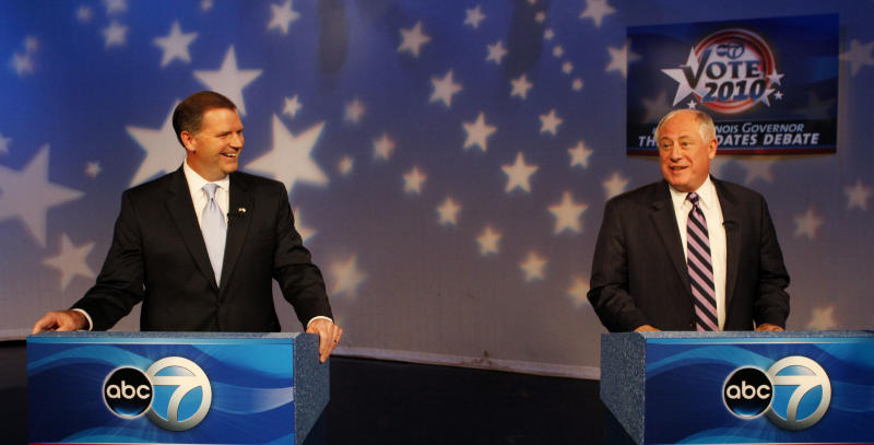 Illinois Gubernatorial candidates Republican Bill Brady, left, and Democrat Gov. Pat Quinn are seen before a televised debate, Wednesday, Oct. 20, 2010 in Chicago. (AP Photo/Charles Rex Arbogast)