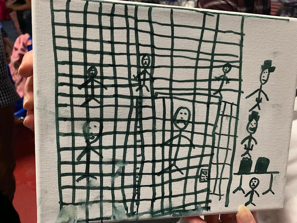 Child's drawing of a border detention facility, June 26, 2019.