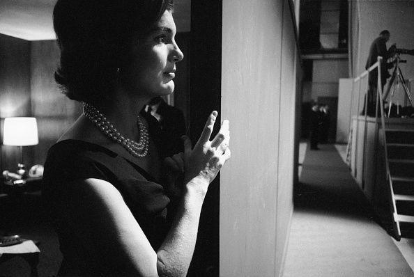 <p>Jackie Kennedy watches from the sidelines as her husband and Democratic nominee John F. Kennedy debates Republican nominee Richard Nixon. </p>