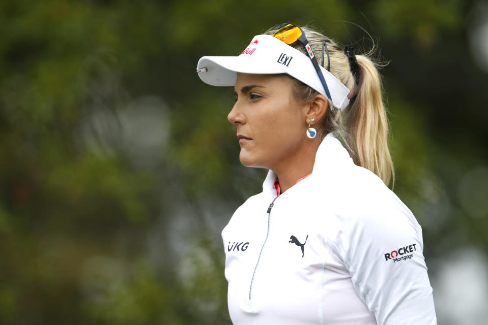 Lexi Thompson walks to the second hole during the third round of the Cognizant Founders Cup golf tournament Saturday, Oct. 9, 2021, in West Caldwell, N.J. (AP Photo/Noah K. Murray)