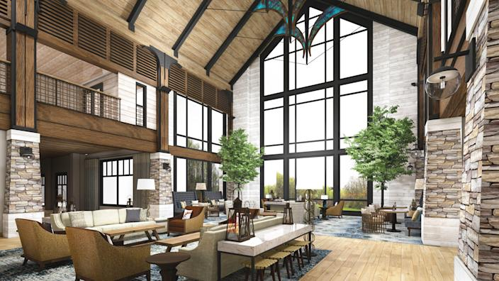 HeartSong Resort and Lodge, Dollywood Company's newest property for guests, features four-story, lantern-inspired windows in the atrium.