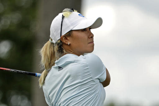 Danielle Kang hits her tee-shot on the eighth hole during the first round of the LPGA Drive On Championship golf tournament at Inverness Golf Club in Toledo, Ohio, Friday, July 31, 2020. Kang finished in the early lead at six-under par. (AP Photo/Gene J. Puskar)