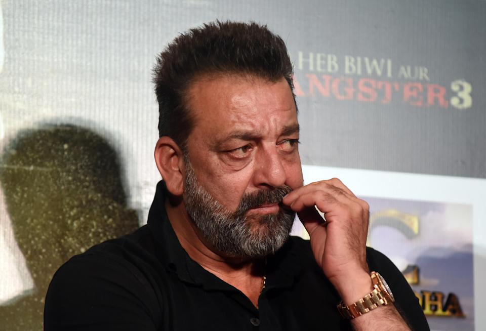 Indian Bollywood actor Sanjay Dutt looks on during the trailer launch of the upcoming drama Hindi film 'Saheb, Biwi Aur Gangster 3' in Mumbai on June 30, 2018. (Photo by Sujit Jaiswal / AFP)        (Photo credit should read SUJIT JAISWAL/AFP via Getty Images)