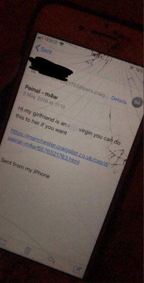 The boyfriend allegedly sent messages to Craigslist users in which he told strangers to sexually assault her. Source: Twitter