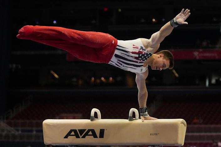 Brody Malone competes on the pommel horse during the men's U.S. Olympic gymnastics trials June 26 in St. Louis.
