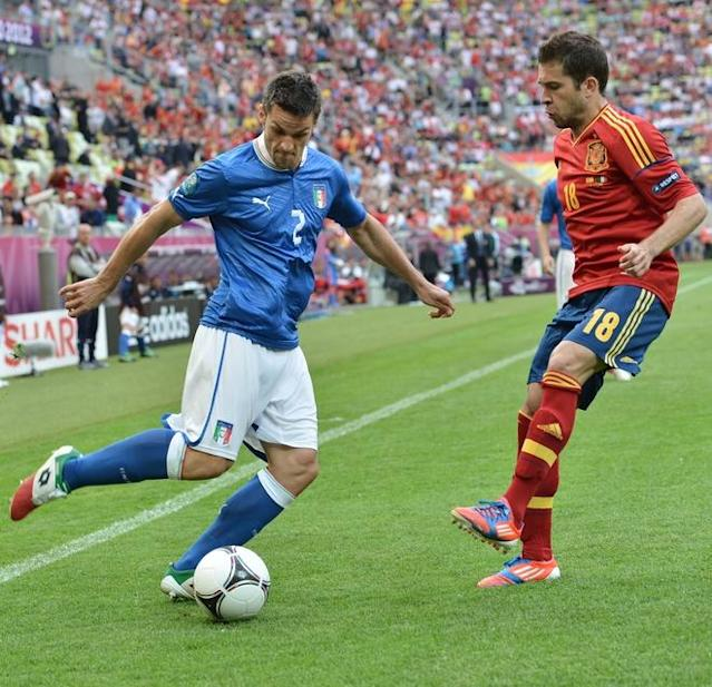 Italian defender Christian Maggio (L) vies with Spanish defender Jordi Alba during the Euro 2012 championships football match Spain vs Italy on June 10, 2012 at the Gdansk Arena. AFPPHOTO/ GIUSEPPE CACACEGIUSEPPE CACACE/AFP/GettyImages