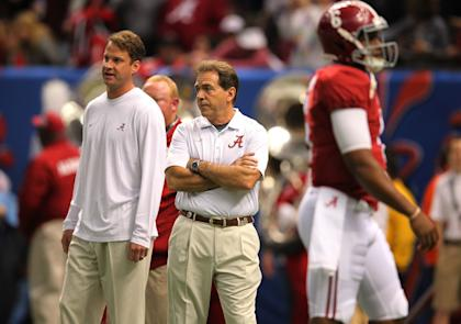 Will Lane Kiffin stay on Nick Saban's staff at Alabama or make a jump to the NFL? (USAT)
