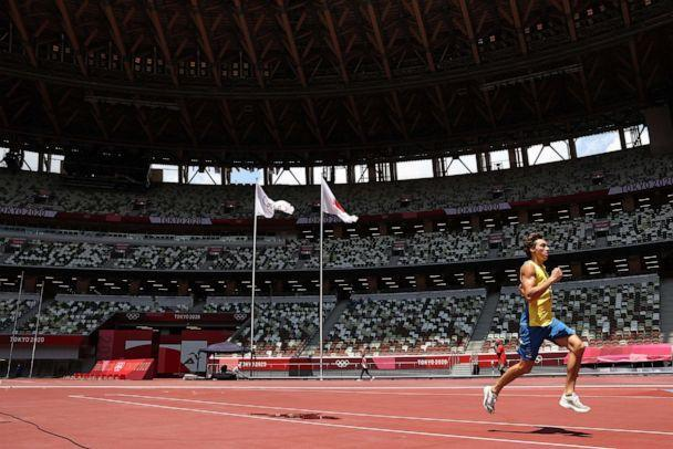 PHOTO: Pole vault world record holder Armand Duplantis of Sweden gets the feel of the track ahead of competition in athletics at the National Stadium  ahead of competition at the Tokyo Olympic Games on July 29, 2021 in Tokyo, Japan. (Michael Steele/Getty Images)