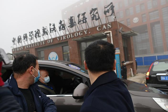 Members of the World Health Organization (WHO) team investigating the origins of the COVID-19 coronavirus arrive by car at the Wuhan Institute of Virology in Wuhan in China's central Hubei province on Feb. 3, 2021.