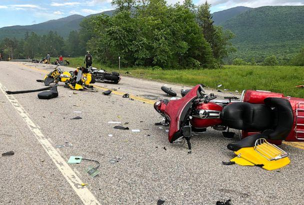 PHOTO: This photo provided by Miranda Thompson shows the scene where several motorcycles and a pickup truck collided on a rural highway on June 21, 2019, in Randolph, N.H. (Miranda Thompson/AP)