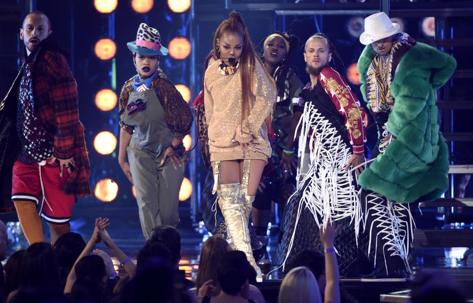 FILE - In this May 20, 2018, file photo,Icon award winner Janet Jackson performs a medley at the Billboard Music Awards at the MGM Grand Garden Arena in Las Vegas. Jackson, John Legend, The Weeknd and Shawn Mendes are among the artists slated to appear at the 2018 Global Citizen Festival. The event will take place on Sept. 29 on the Great Lawn in New York City's Central Park. (Photo by Chris Pizzello/Invision/AP, File)