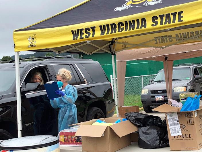 Students getting tested before moving into residence halls at West Virginia State University, on July 31, 2020.