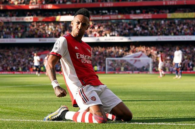 Pierre-Emerick Aubameyang scored Arsenal's third goal in a dominant victory over neighbours Tottenham