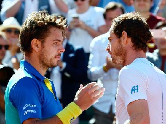 Stanislas Wawrinka is congratulated by Andy Murray in 2017 (AFP)