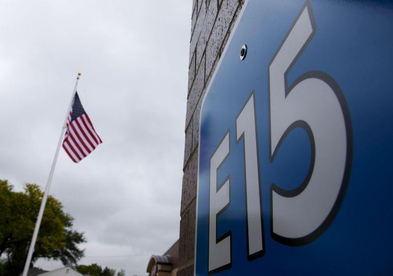 A sign advertising E15, a gasoline with 15 percent of ethanol, is seen at a gas station in Clive