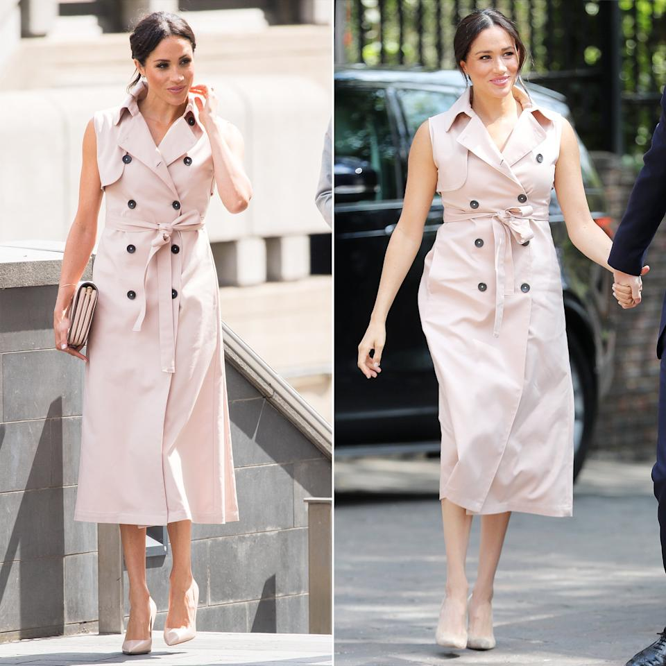 """<a href=""""https://people.com/tag/meghan-markle/"""">Meghan Markle</a> she chose an especially meaningful dress to meet Nelson Mandela's widow. The Duchess of Sussex sported her<a>NONIE Trench Dress</a>, which she previously wore to another event celebrating Mandela — in July 2018, she debuted the ensemble at an<a href=""""https://people.com/royals/meghan-markle-and-prince-harry-meet-nelson-mandelas-close-friend-at-powerful-new-exhibit/"""">exhibition marking the centenary of the South African anti-apartheid revolutionary's birth</a>."""