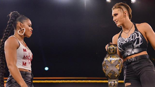Bianca Belair and Rhea Ripley will square off for the NXT women's championship at TakeOver: Portland. (Photo courtesy of WWE)
