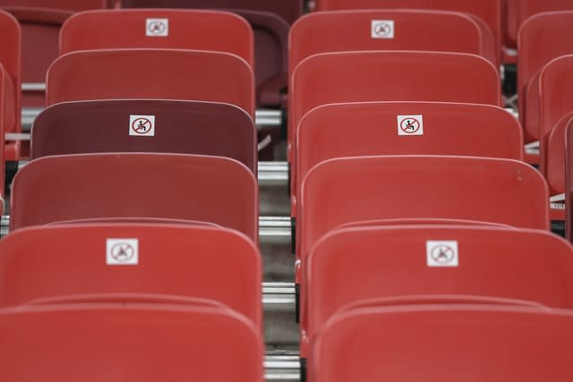 Stickers marking social distance guidelines are laid out at the Puskas Arena, which will host the Super Cup on Thursday