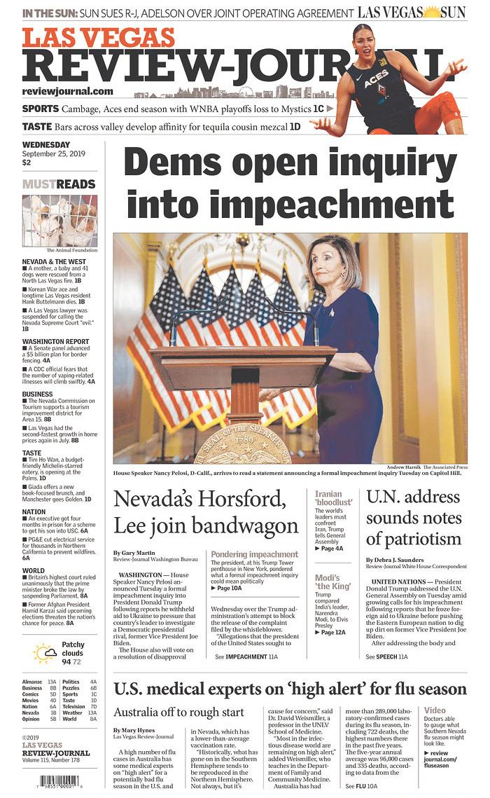 Dems open inquiry into impeachment Las Vegas Review-Journal Published in Las Vegas, Nev. USA. (newseum.org)