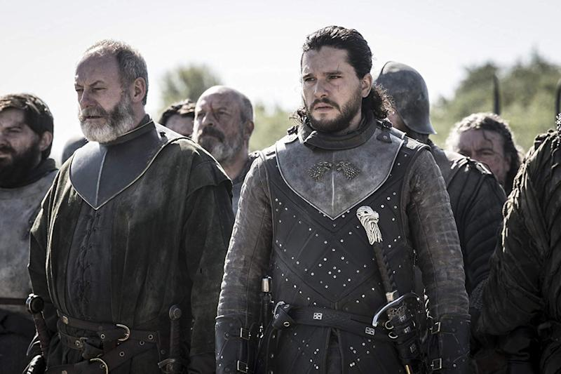 Kit Harrington and Liam Cunningham on Game Of Thrones
