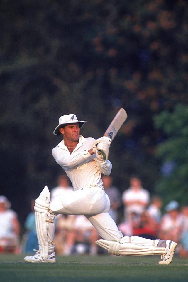 6 May 1990:  Martin Crowe of New Zealand sweeps for four during the tour match against the Duchess of Norfolk's XI played at Arundel, Sussex, England. New Zealand won the match by seven wickets. \ Mandatory Credit: Adrian Murrell /Allsport