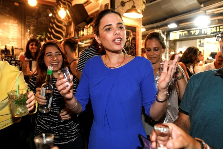 Israeli former justice minister Ayelet Shaked campaigns for the far-right Yamina (Rightward) alliance ahead of September's inconclusive general election