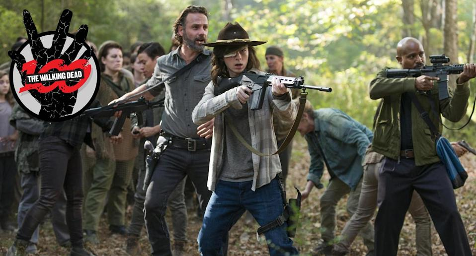 Andrew Lincoln as Rick, Chandler Riggs as Carl, and Seth Gilliam as Gabriel in <em>The Walking Dead</em>. (Photo: AMC)