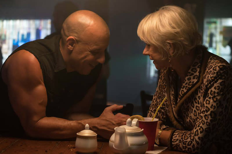 Vin Diesel and Helen Mirren in <em>The Fate of the Furious</em>. (Photo: Universal)