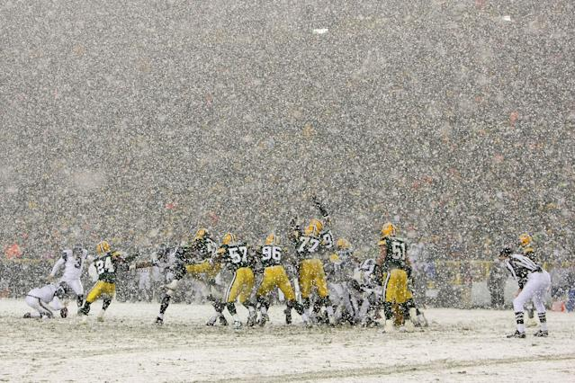 Seattle and Green Bay played in a classic snow game in January of 2008. (Photo by Jonathan Daniel/Getty Images)