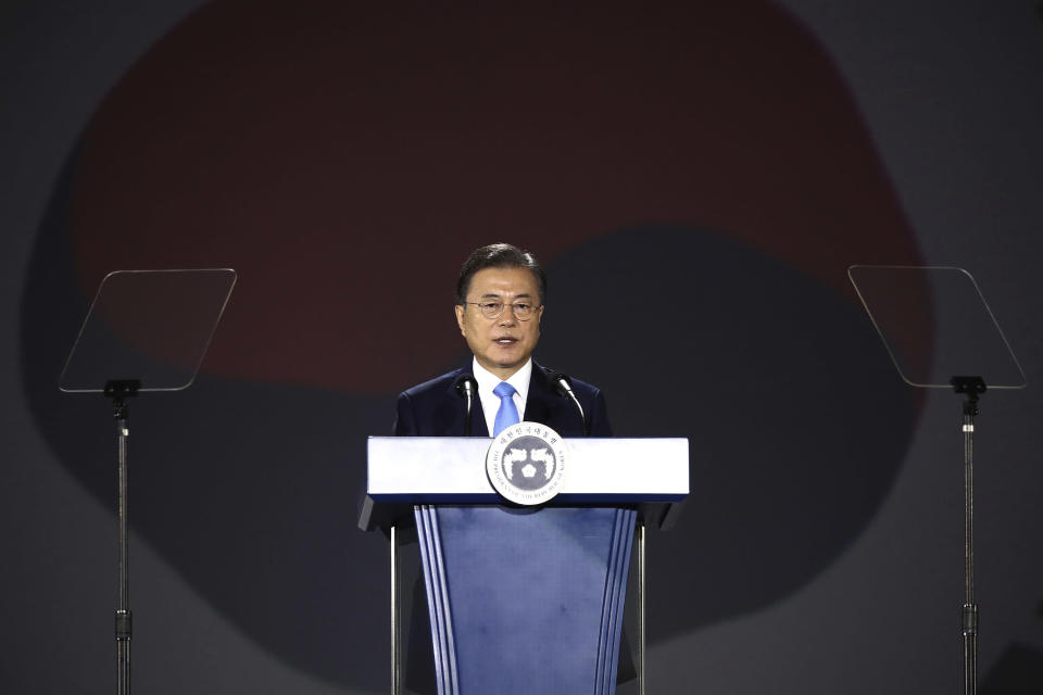 South Korean President Moon Jae-in speaks during the celebration of 75th anniversary of the Liberation Day at Dongdaemun Design Plaz in Seoul Saturday, Aug. 15, 2020. (Chung Sung-jun/Pool Photo via AP)