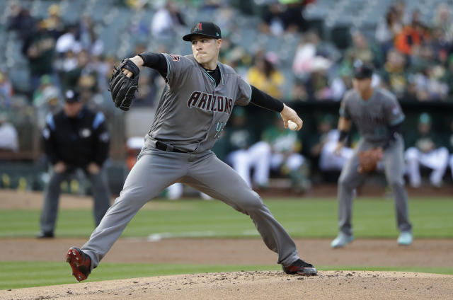 Arizona Diamondbacks starter Patrick Corbin throws to an Oakland Athletics batter during the first inning of a baseball game Friday, May 25, 2018, in Oakland, Calif. (AP Photo/Marcio Jose Sanchez)