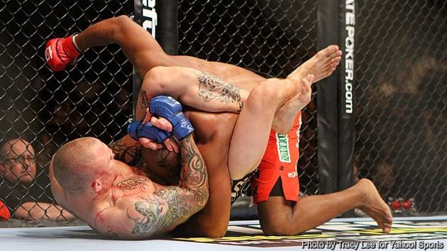 Anthony Smith defeats Lumumba Sayers with a triangle choke submission during the Strikeforce event at Valley View Casino Center on August 18, 2012 in San Diego, California.