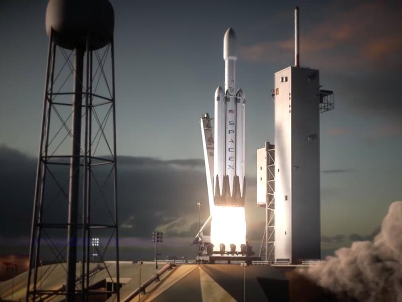 falcon heavy rocket launch cape canaveral illustration spacex