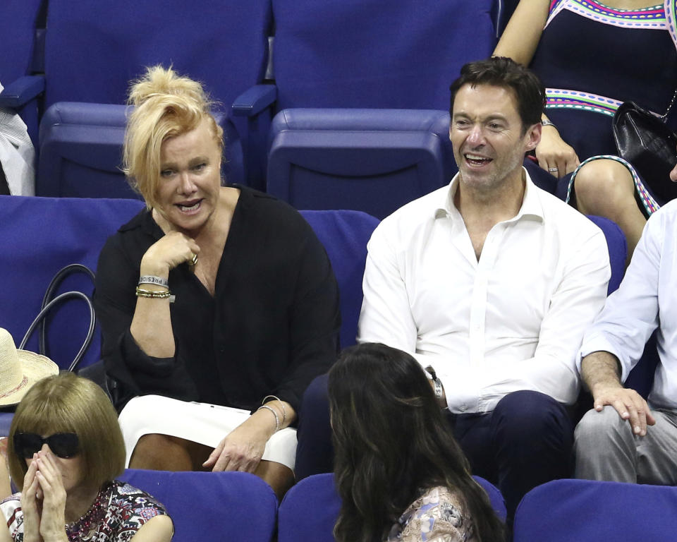 Deborra-lee Furness, left, and Hugh Jackman attend the opening night ceremony of the U.S. Open tennis tournament at the USTA Billie Jean King National Tennis Center on Monday, Aug. 27, 2018, in New York. (Photo by Greg Allen/Invision/AP)