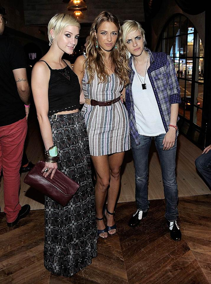 """Designer Charlotte Ronson (center) celebrated the launch of her JCPenney I """"Heart' Ronson summer collection with a bowling party at hip Hollywood hangout The Spare Room inside the Roosevelt Hotel. She was joined by sister Charlotte (right) and friend Ashlee Simpson, who recently made headlines thanks to her new romance with """"Boardwalk Empire"""" actor Vincent Piazza. Charley Gallay/WireImage.com - June 21, 2011"""