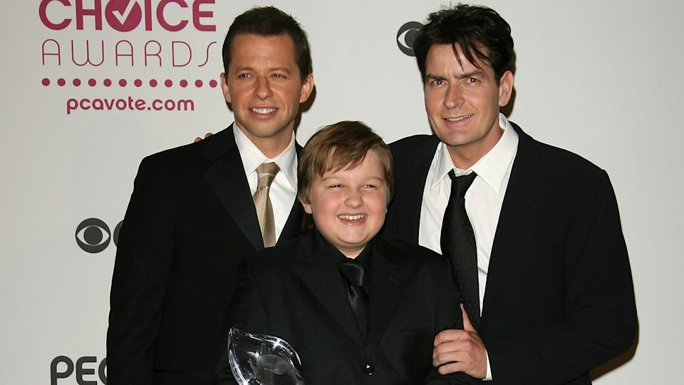 "LOS ANGELES, CA - JANUARY 09:  (L-R) ""Two and a Half Men"" cast members, Jon Cryer, Angus T."